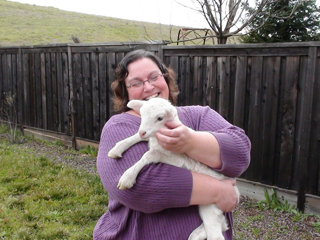 Wendy holding a baby sheep.