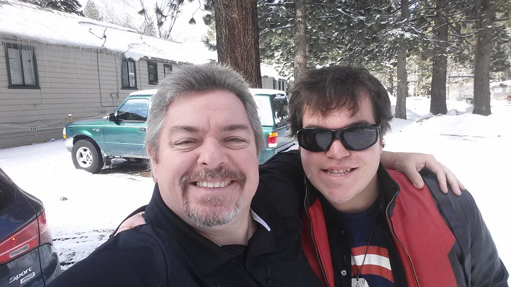First stop was South Lake Tahoe to get Joe. As you can see it was snowing!