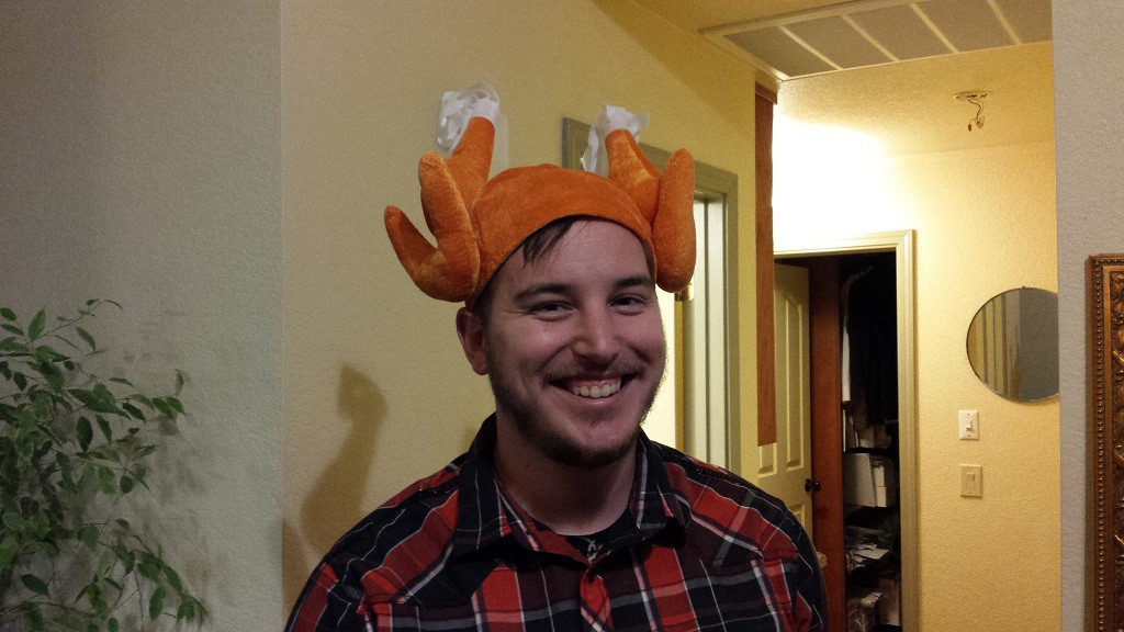 When we arrived for dinner Josh had a Turkey on his head!